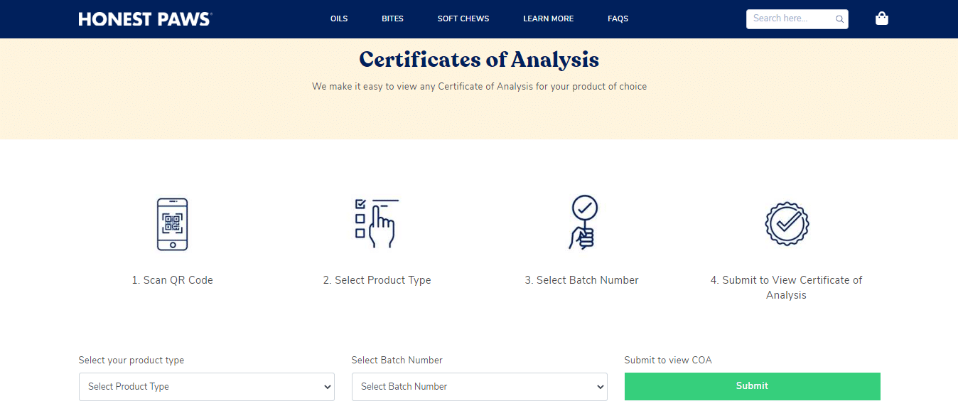 Honest Paws Certificate of Analysi