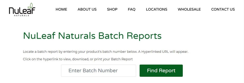 Nuleaf Naturals Batch Report